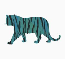Tiger Black and Teal Print Kids Tee