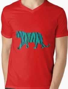 Tiger Black and Teal Print Mens V-Neck T-Shirt