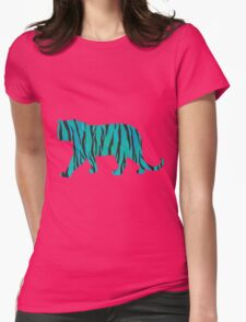 Tiger Black and Teal Print Womens Fitted T-Shirt