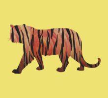 Tiger Hot orange and Black Print Kids Clothes