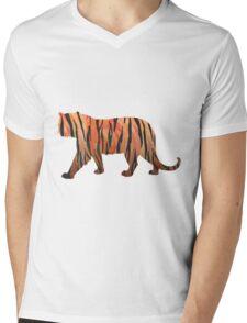 Tiger Hot orange and Black Print Mens V-Neck T-Shirt