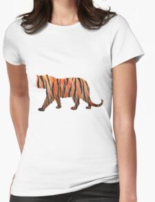 Tiger Hot orange and Black Print Womens Fitted T-Shirt