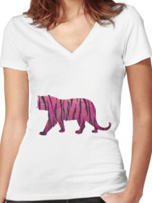 Tiger Hot Pink and Black Print Women's Fitted V-Neck T-Shirt