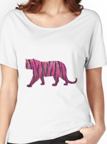 Tiger Hot Pink and Black Print Women's Relaxed Fit T-Shirt