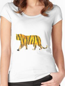 Tiger Black and Orange Print Women's Fitted Scoop T-Shirt