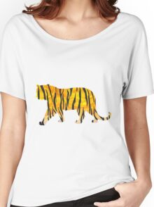 Tiger Black and Orange Print Women's Relaxed Fit T-Shirt