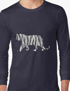 Tiger Black and White Print Long Sleeve T-Shirt