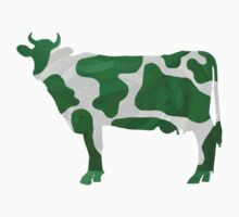 Cow Green and White Print by Traci VanWagoner