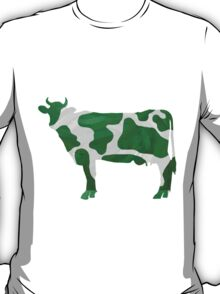 Cow Green and White Print T-Shirt