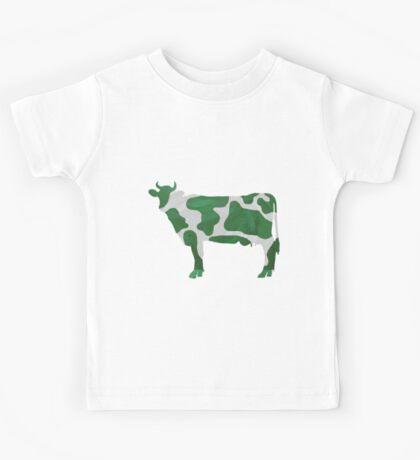 Cow Green and White Print Kids Tee