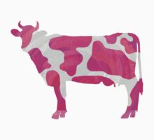 Cow Hot Pink and White Print by Traci VanWagoner