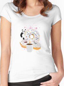 Panda & White Donuts Women's Fitted Scoop T-Shirt