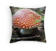 Red and White Polka Dotted Mushroom Throw Pillow