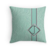1920s Blue Deco Swing with Monogram letter j Throw Pillow