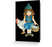 doll and chicken Greeting Card