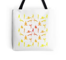 Yoga Positions In Gradient Colors Tote Bag