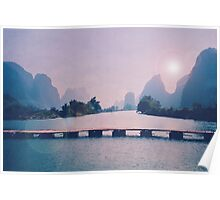 Wooden foot bridge in China Poster