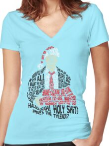 Holy Shit! Where's the Tylenol? X-Mas Women's Fitted V-Neck T-Shirt