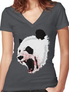 Panda Ladies Women's Fitted V-Neck T-Shirt