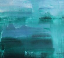 Through the Veil - Abstract Ocean Turquoise Blue by Kimberley Bruce