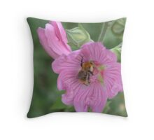 Pink flower with a bee inside it Throw Pillow