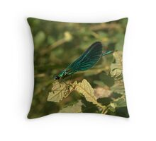 Blue Dragon Fly sitting on leave Throw Pillow