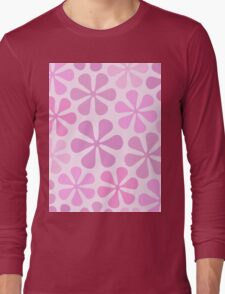Abstract Flowers in Pinks Long Sleeve T-Shirt