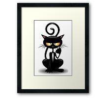 Cattish Angry Black Cat Cartoon Framed Print