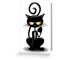 Cattish Angry Black Cat Cartoon Greeting Card