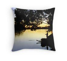 Fishing at Dusk Throw Pillow