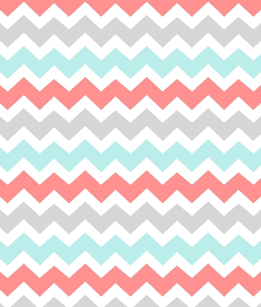 Quot Coral Aqua Grey Chevron Pattern Quot By Dreamingmind Redbubble