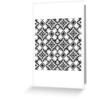 Black and White Decorative Damask Pattern Greeting Card