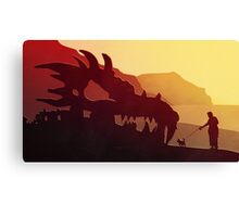 Dog & Dragon, Who's Best ? Canvas Print