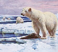 Polar Bears on Ice Floes Art by goldenmenagerie