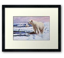 Polar Bears on Ice Floes Art Framed Print