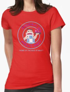 Mudka's Meat Hut Logo Womens Fitted T-Shirt