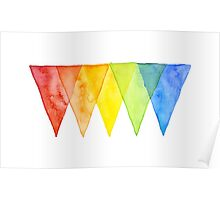 Abstract Triangles Geometric Shapes Watercolor Rainbow Poster