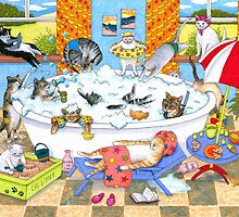 Cat 601 funny cats in bath by artbylucie