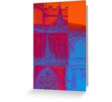 pink, blue and orange church Greeting Card