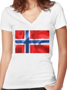 Norway Flag Women's Fitted V-Neck T-Shirt