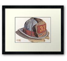 Fire Fighter Helmet with Melted Visor Framed Print