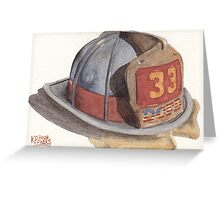 Fire Fighter Helmet with Melted Visor Greeting Card