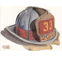 Fire Fighter Helmet with Melted Visor Photographic Print