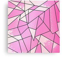 Girly Modern Pink Distressed Geometric Pattern Canvas Print