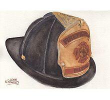 9-11 Fire Fighter Helmet Photographic Print
