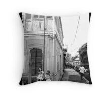 Noumea street life BW Throw Pillow