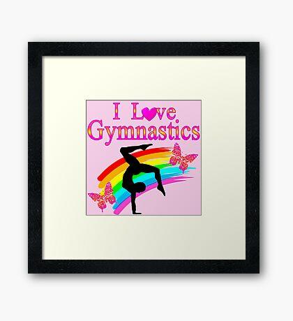 PINK I LOVE GYMNASTICS DESIGN Framed Print