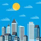 City  in a flat style  by Alexzel
