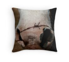 Barbed wire nose Throw Pillow