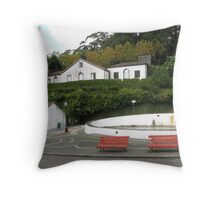 his and hers park bench Throw Pillow